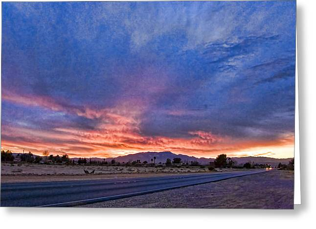 Sunset In The Desert Greeting Card by Ches Black