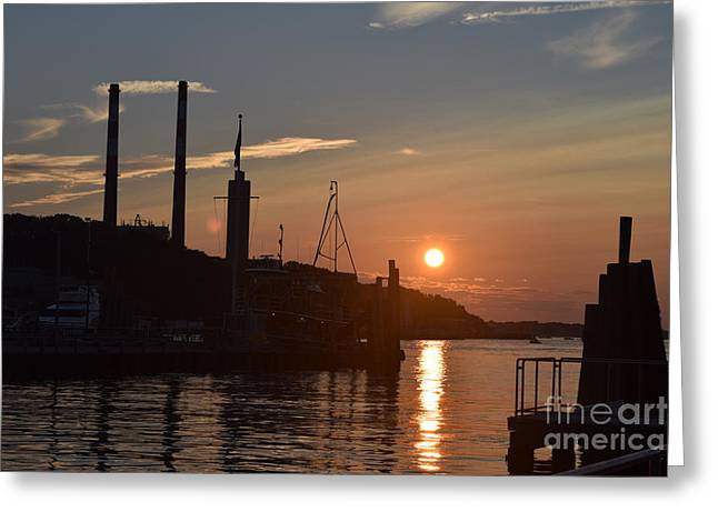 Docked Boat Greeting Cards - Sunset in the Harbor Greeting Card by Deborah A Andreas