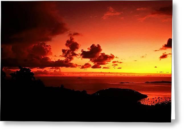 Sunset In The Islands Greeting Card by Bill Jonscher