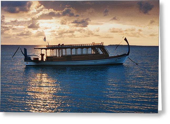 Boats On Water Greeting Cards - Sunset in the Maldives Greeting Card by Terence Davis