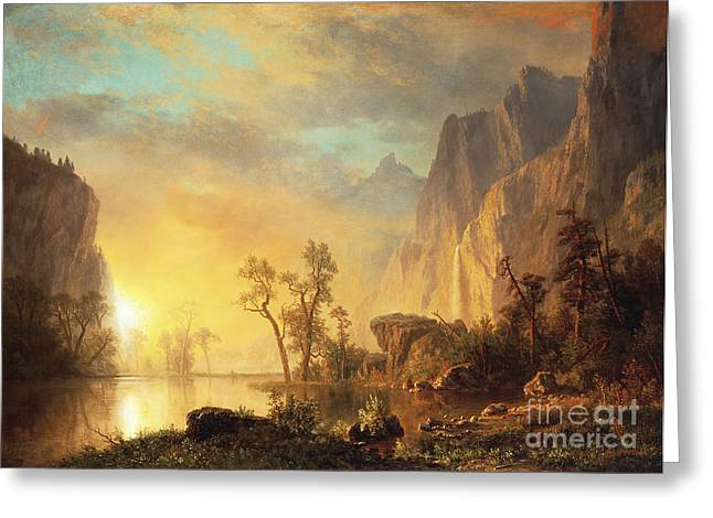 Cliff Paintings Greeting Cards - Sunset in the Rockies Greeting Card by Albert Bierstadt
