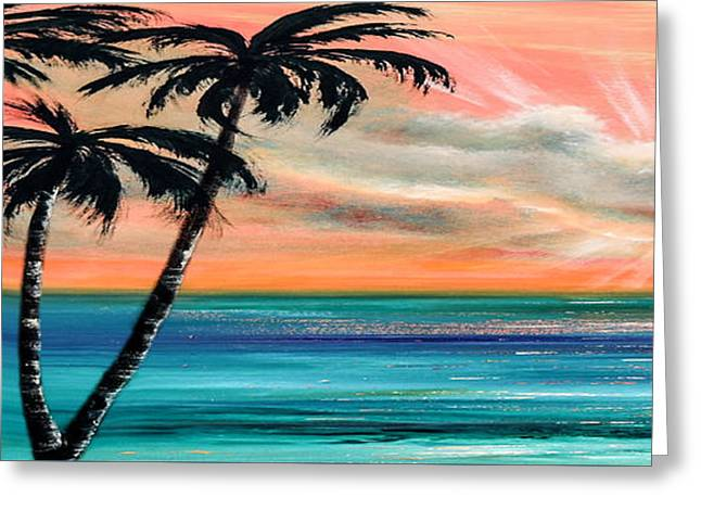 Panoramic Ocean Greeting Cards - Sunset in the Tropics Greeting Card by Gina De Gorna