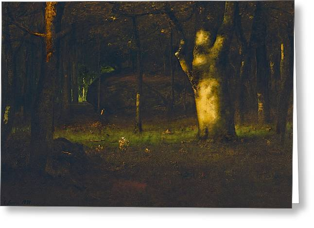 Sunset In The Woods Greeting Card by George Inness