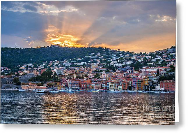 Reflecting Water Greeting Cards - Sunset in Villefranche-sur-Mer Greeting Card by Elena Elisseeva