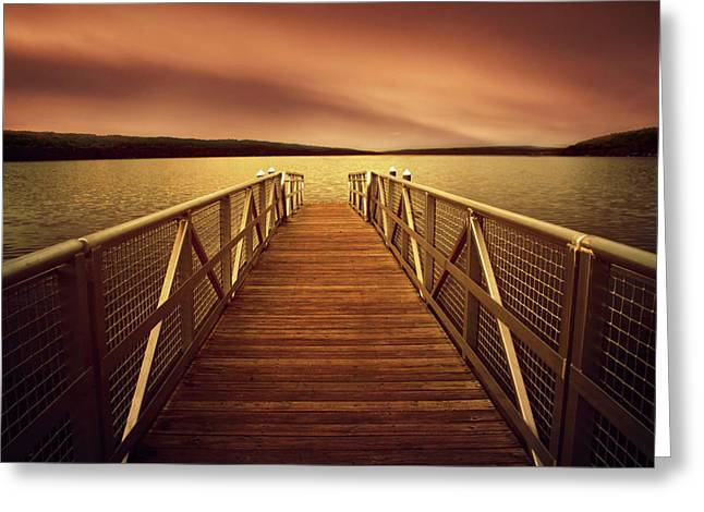 Sunset Dock Greeting Card by Jessica Jenney