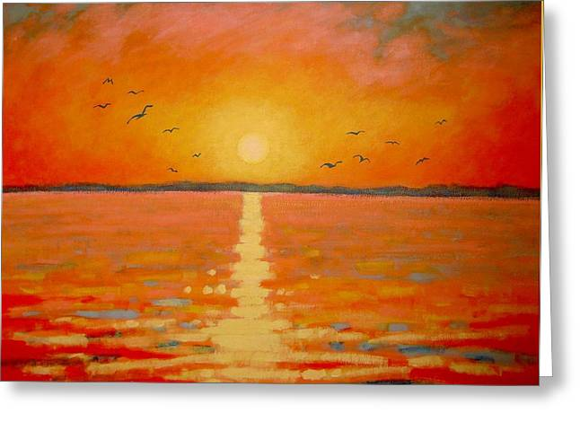 Evening Lights Greeting Cards - Sunset Greeting Card by John  Nolan