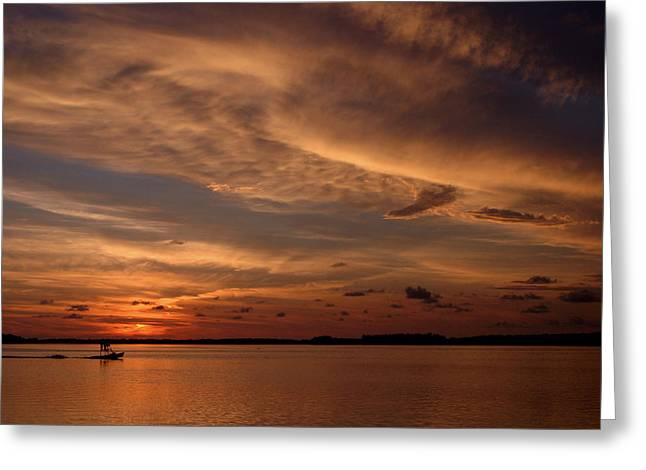 Fishing Boat Sunset Greeting Cards - Sunset Greeting Card by Joseph G Holland