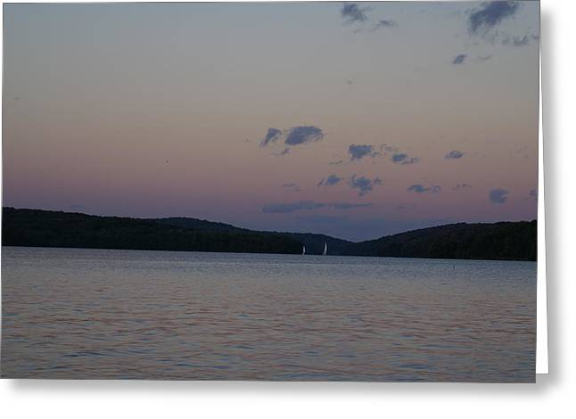 Lilly Pad Greeting Cards - Sunset Lake Arthur Moraine State Park Greeting Card by Big E tv Photography