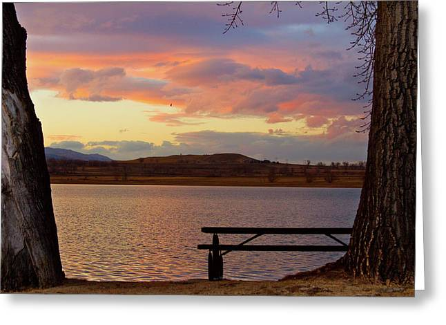 Sunset Prints Greeting Cards - Sunset Lake Picnic Table View  Greeting Card by James BO  Insogna