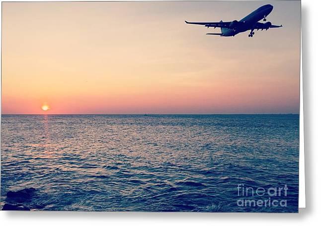 Klm Greeting Cards - Sunset Landing Greeting Card by Jennifer Phlieger Ansier