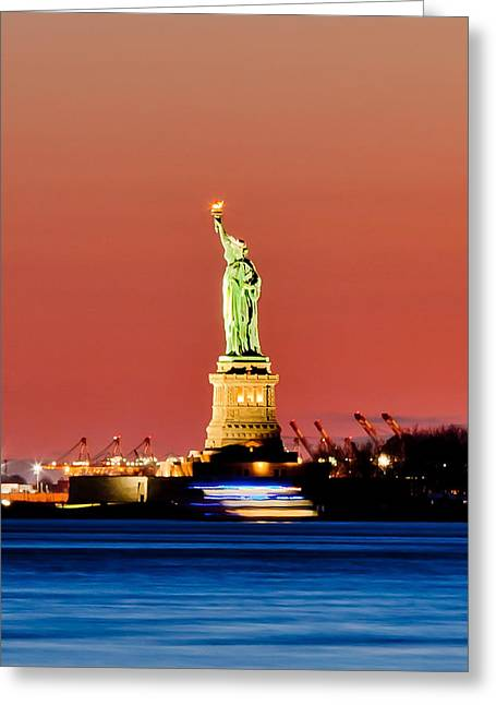 Liberty Photographs Greeting Cards - Sunset Liberty Greeting Card by Az Jackson