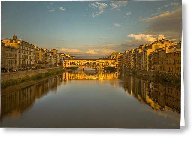 Italian Sunset Greeting Cards - Sunset light on the Ponte Vecchio bridge Greeting Card by Chris Fletcher
