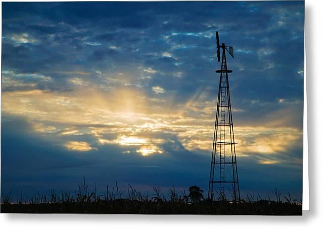 Breaking Through Greeting Cards - Sunset Light Through Heavy Clouds Greeting Card by Panoramic Images