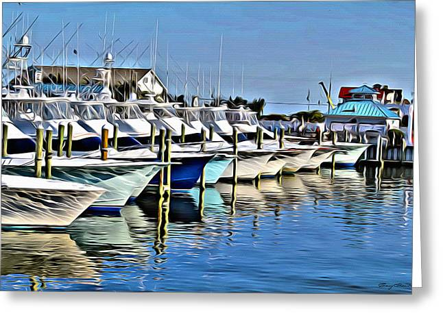 Jarrett Greeting Cards - Sunset Marina Greeting Card by Anthony C Chen
