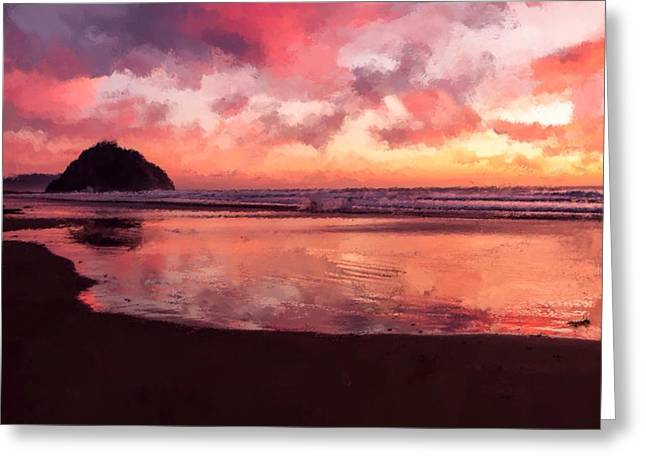 Ocean Shore Mixed Media Greeting Cards - Sunset  Greeting Card by Mark Taylor