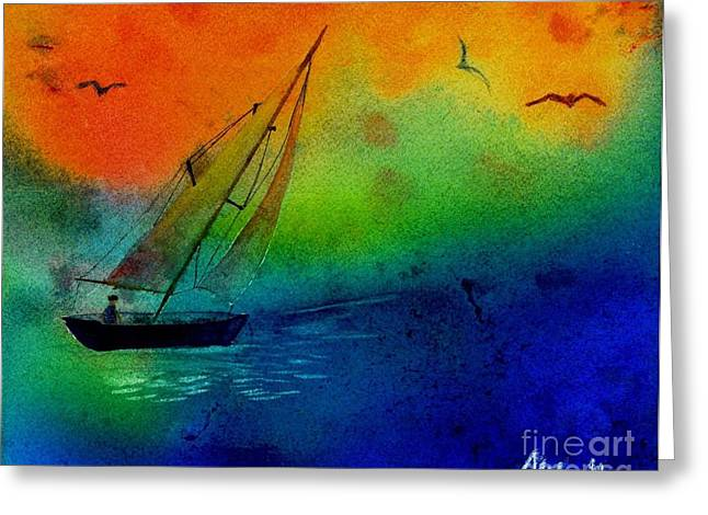 Sea Birds Mixed Media Greeting Cards - Sunset Greeting Card by Mike Grubb