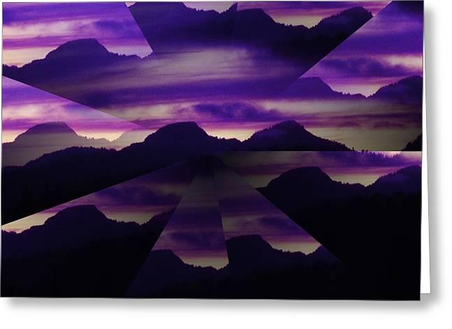 Washingotn Greeting Cards - Sunset Mountgain Illusion Greeting Card by Dawna Raven Sky