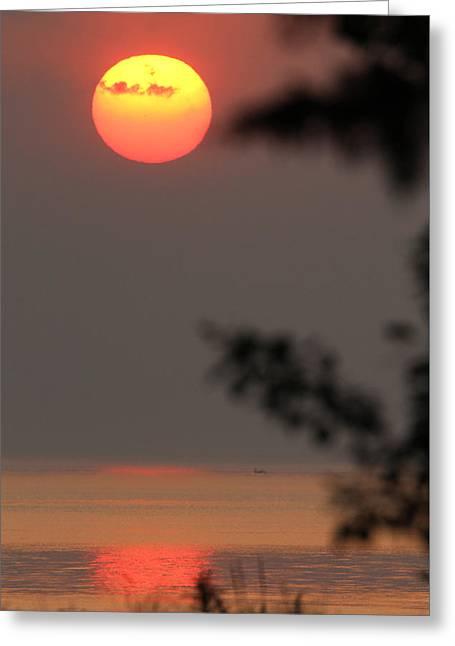 York Beach Greeting Cards - Sunset Mt Sinai New York Greeting Card by Bob Savage