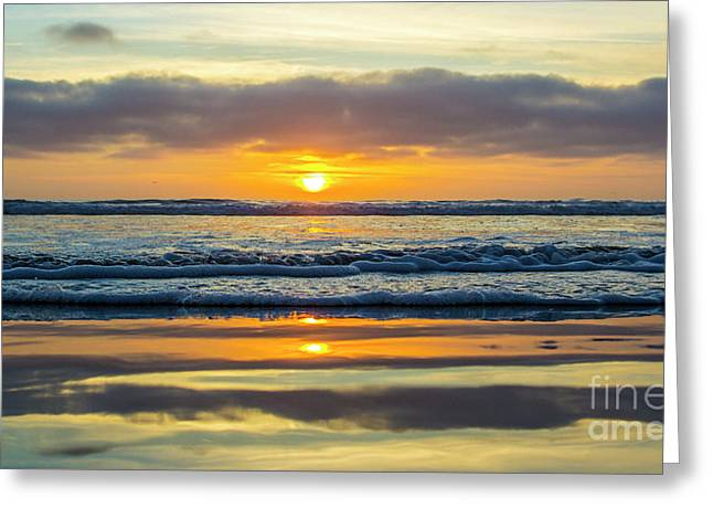 Sunset Ocean View  Greeting Card by Roman Gomez