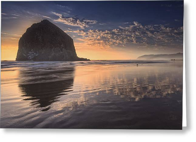 Haystack Rock Greeting Cards - Sunset on Cannon Beach Greeting Card by Rick Berk