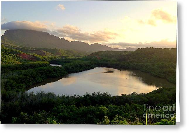 Sunset Greeting Cards Greeting Cards - Sunset on a Hawaiian Fish Pond Greeting Card by Melissa Cole