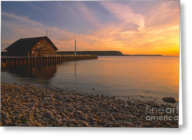 Waterscape Greeting Cards - Sunset on Andersons Dock - Door County Greeting Card by Sandra Bronstein