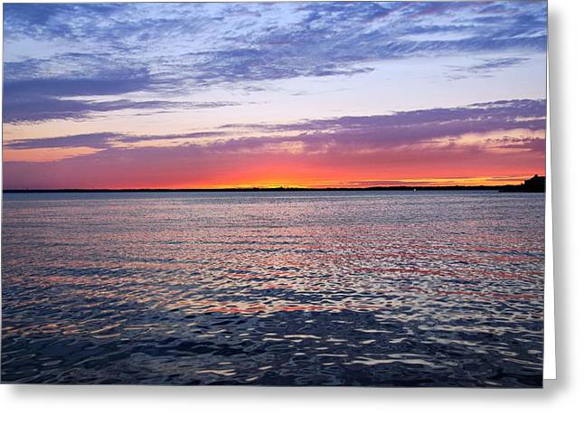 Print On Canvas Photographs Greeting Cards - Sunset On Barnegat Bay I - Jersey Shore Greeting Card by Angie Tirado