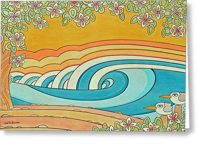 Recently Sold -  - California Beach Art Greeting Cards - Sunset on Birdy Beach Greeting Card by Joe Vickers