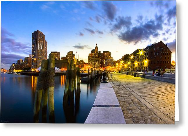 Buildings In The Harbor Greeting Cards - Sunset On Bostons Long Wharf Greeting Card by Mark E Tisdale