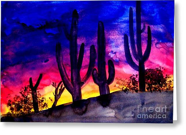 Sunset On Cactus Greeting Card by Mike Grubb