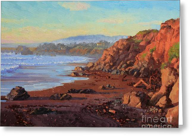 Sunset On Cambria Ca Greeting Card by Gary Kim