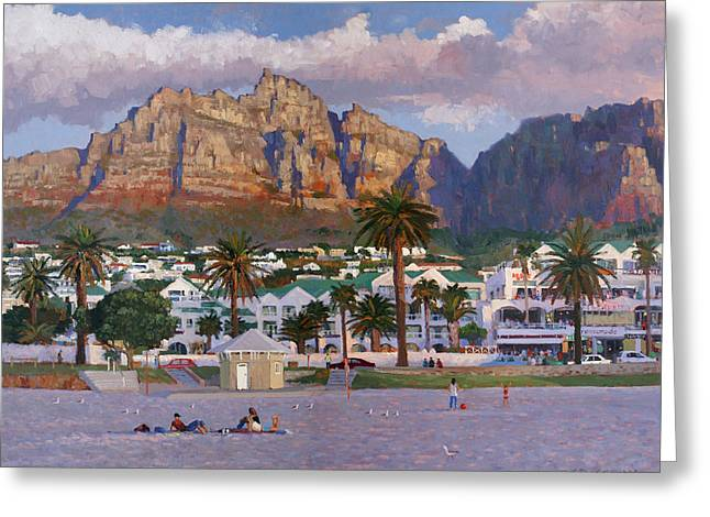 Sunset On Camps Bay Beach Greeting Card by Roelof Rossouw
