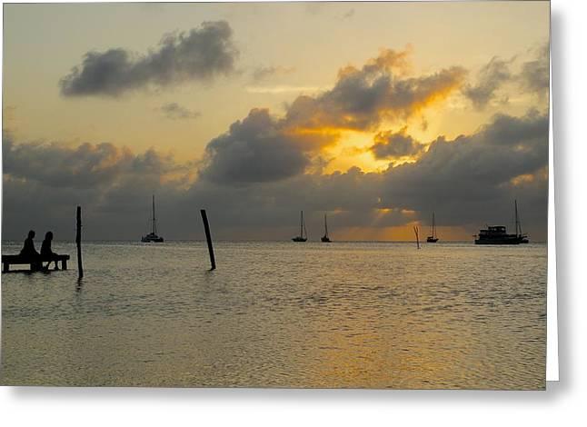 Docked Sailboats Greeting Cards - Sunset on Caye Caulker Greeting Card by Jason Humbracht