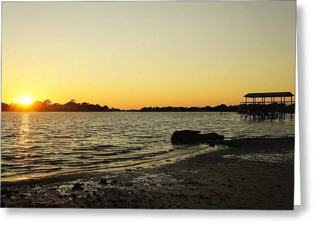 Cedar Key Greeting Cards - Sunset on Cedar Key Greeting Card by Laurie Perry