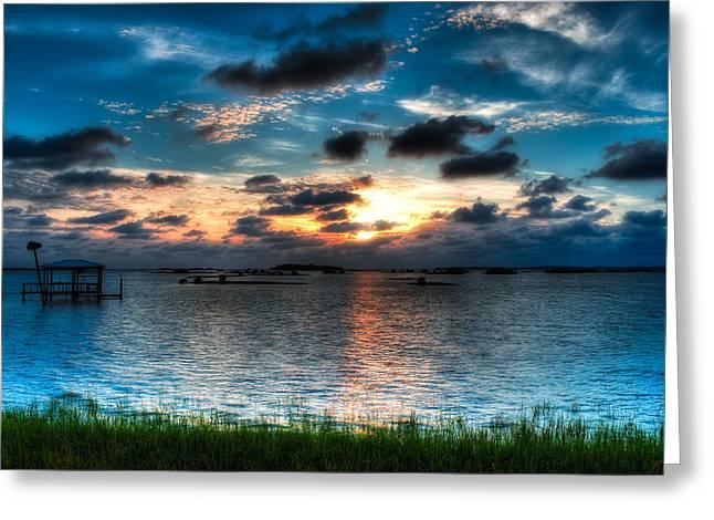 Sunset on Cedar Key Greeting Card by Rich Leighton