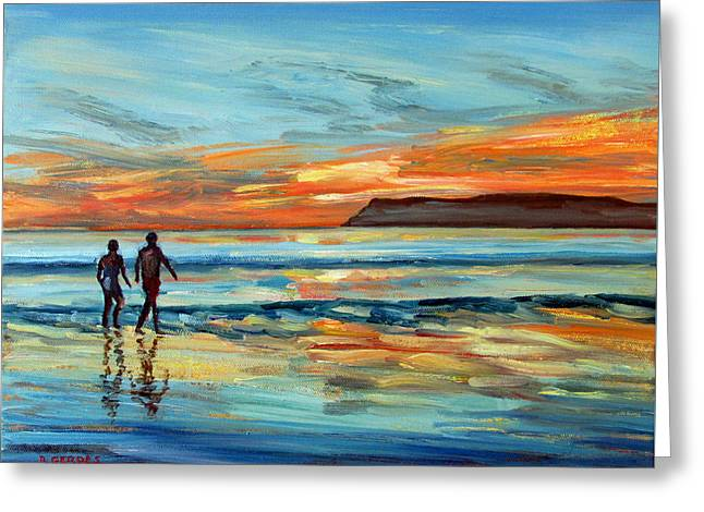 Surf Silhouette Paintings Greeting Cards - Sunset on Coronado Beach with Figures Greeting Card by Robert Gerdes