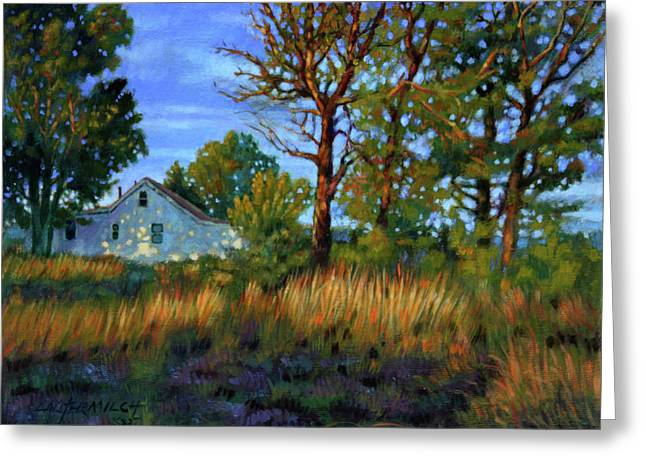 Sundet Greeting Cards - Sunset on Country Home Greeting Card by John Lautermilch