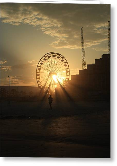 Jogging Greeting Cards - Sunset on Daytona Beach Greeting Card by Mandy Shupp