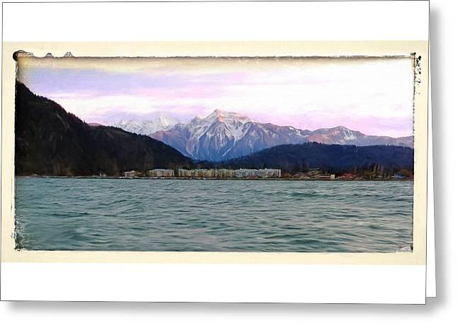 Mountain Road Greeting Cards - Sunset On Harrison Hot Springs - Travel Art Greeting Card by Jordan Blackstone