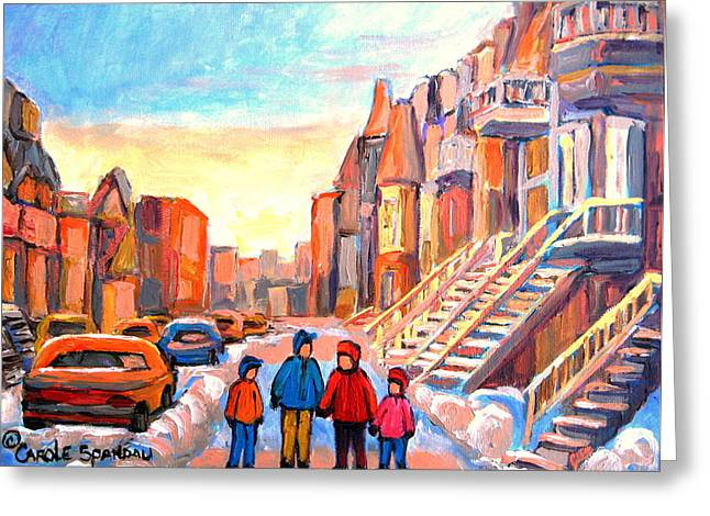 Sunset On Hotel De Ville Street Montreal Greeting Card by Carole Spandau