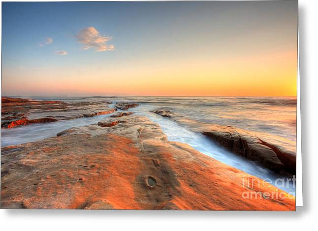 Long Exposure Greeting Cards - Sunset on La Jolla Beach Greeting Card by Kelly Wade