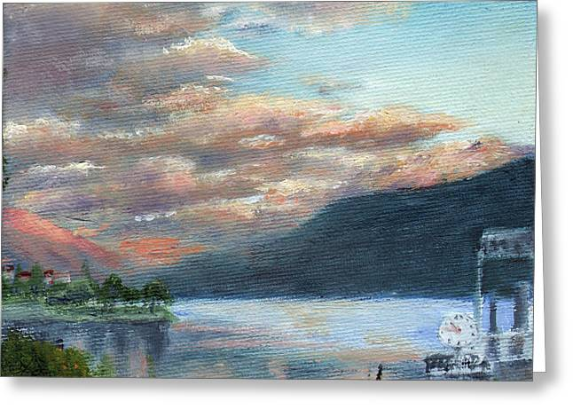 Italian Sunset Greeting Cards - Sunset on Lake Locarno Greeting Card by Leah Wiedemer
