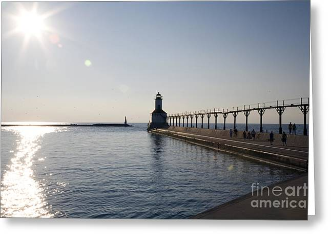 Sunset On Lake Michigan Greeting Card by Jeannie Burleson