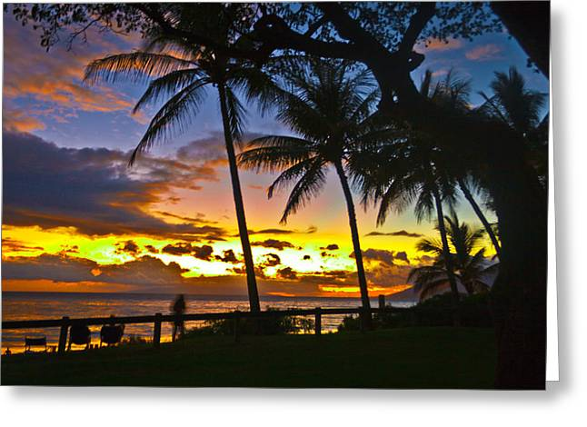 Astronomy Pyrography Greeting Cards - Sunset on Maui Greeting Card by Les Clemens