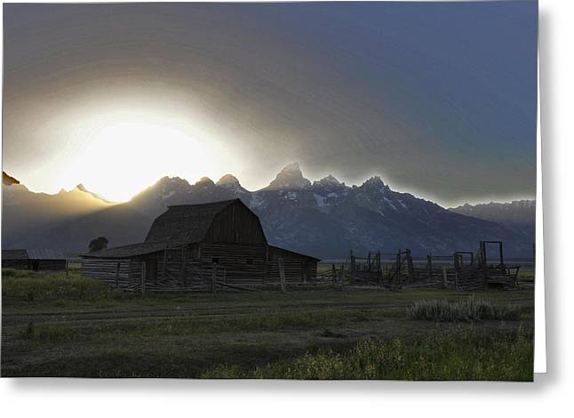 Barn Digital Greeting Cards - Sunset on Mormon Row  WY Greeting Card by Vijay Sharon Govender