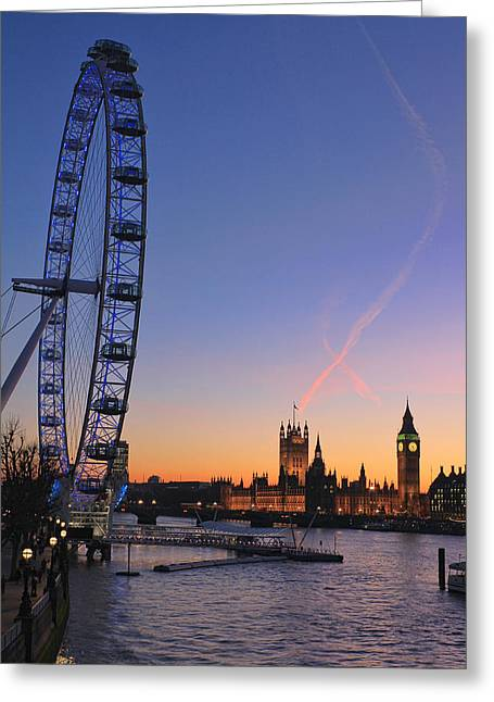 Red Sunset Greeting Cards - Sunset on river Thames Greeting Card by Jasna Buncic