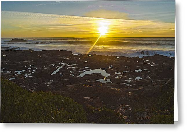 Ocean Images Greeting Cards - Sunset on San Mateo Coast Greeting Card by John Carey