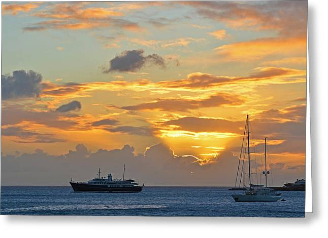 Simpson Greeting Cards - Sunset on Simpon Bay Saint Martin Caribbean Greeting Card by Toby McGuire