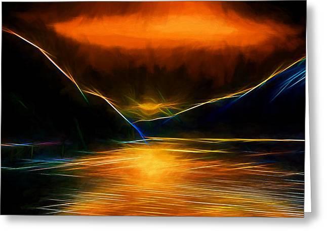 Usa Digital Greeting Cards - Sunset on the Bay Greeting Card by John Haldane