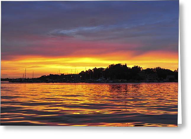 Throw Down Greeting Cards - Sunset on the Bay Greeting Card by Terry DeLuco